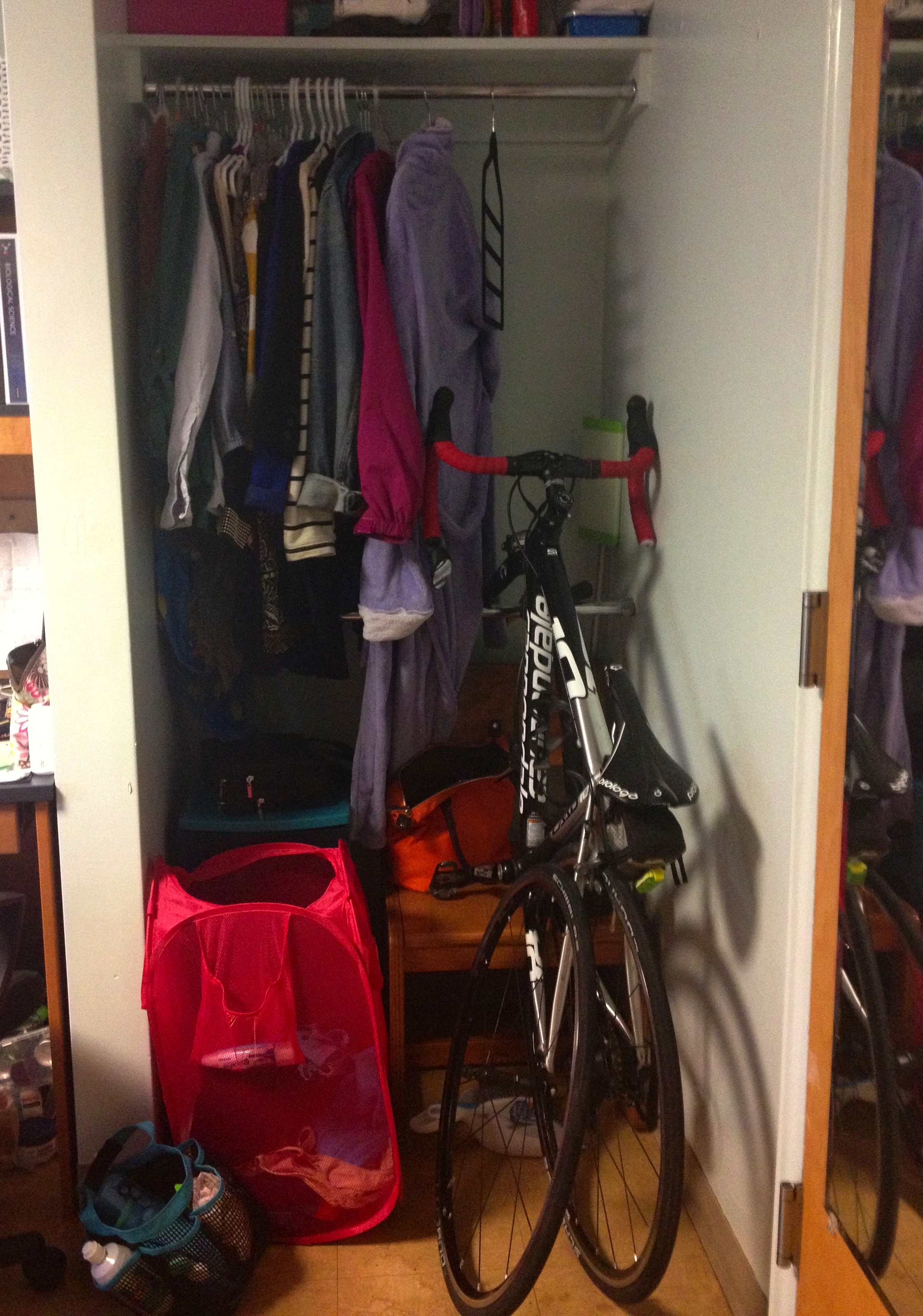 Ariana Put Her Road Bike In Her Closet And Propped The Front On The Bottom  Bar And Took Off The Front Wheel!
