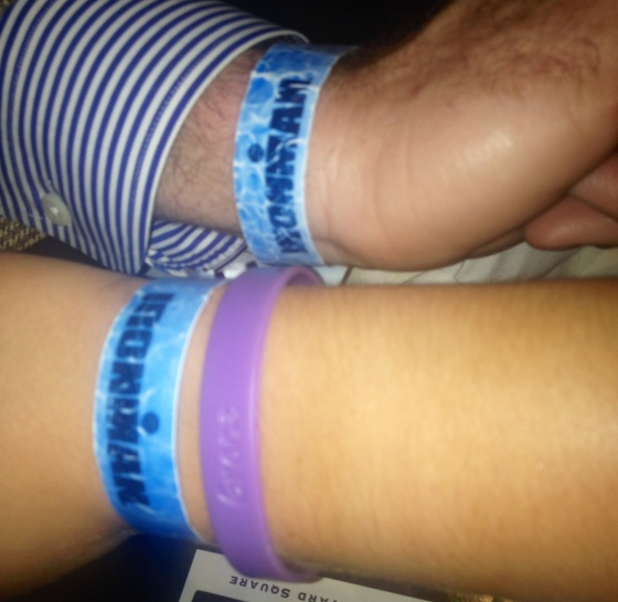 Uncle Mike and I still have our Ironman bracelets on from July!