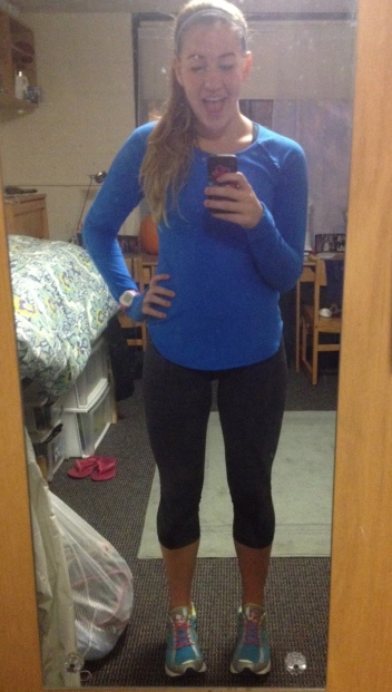 Me after my run! Shirt and cropped leggings from Lululemon Athletica.