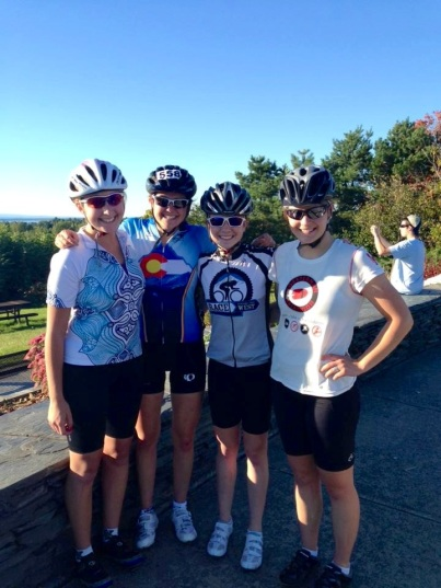 Biking with teammates Abby, Riley, and Caroline along Lake Champlain in Burlington!