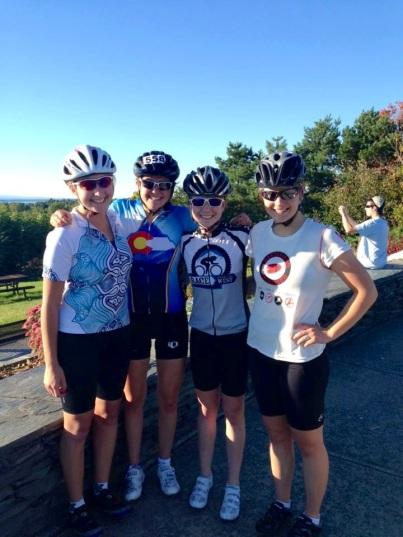Biking with teammates Abby, Riley, and Caroline along Lake Champlain in Burlington!
